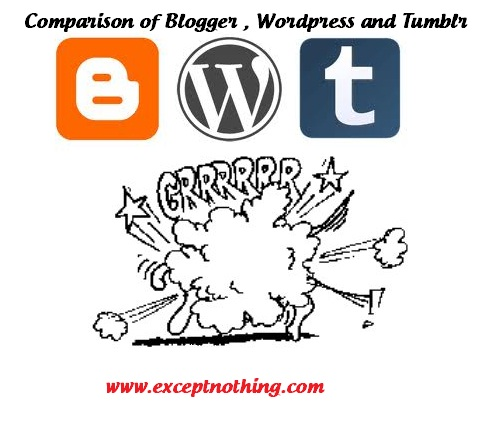 Comparison of Blogger , Wordpress and Tumblr