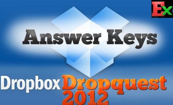 DropBox Dropquest 2012 Answer Keys